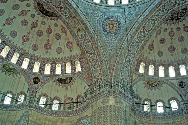 Blue Mosque interior.  This 17th century mosque is considered the last of the great classical mosques.  Some of its architectural features were modeled on Byzantine Christian elements of the nearby Hagia Sophia.