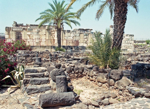 Synagogue at Capernaum, Israel.  This fourth or fifth century synagogue was built over the remains of a first century synagogue, quite probably the one that was there in the time of Jesus.  Capernaum was the home of the apostle Peter.