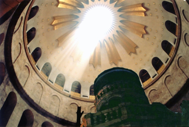 The interior of the dome of the Church of the Holy Sepulcher.