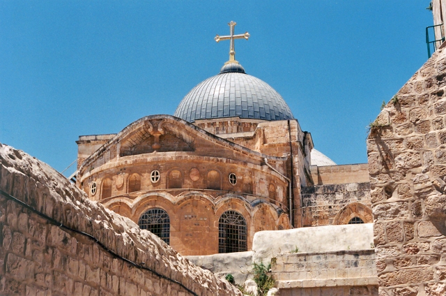 The Church of the Holy Sepulcher, Jerusalem, Israel.  Originally built in the fourth century on what was considered the site of Calvary, the church was rebuilt after a fire in the 7th century and again in the llth and 12th centuries after the earlier building was largely destroyed on the orders of a Fatimid caliph. Renovations have continued intermittently.  Disputes over jurisdiction led to a shared authority among Eastern Orthodox, Roman Catholic, and Armenian Apostolic churches.