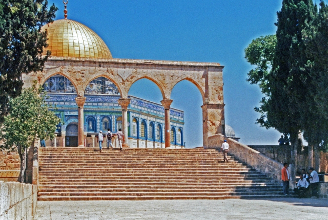 The Dome of the Rock, Jerusalem, Israel.  This shrine on the Temple Mount in Jerusalem dominates the city skyline.  It was built in the late 7th century on the site of the Jewish Second Temple, the Temple Jesus knew.  It is said to mark the site of the prophet Muhammad's Night Journey.  One of the oldest examples of Islamic architecture, it contains elements taken from Byzantine Christian architecture.
