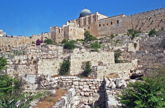 The ancient walls on the Temple Mount in Jerusalem, below the dome of the Al-Aqsa Mosque, show the layers of building on that site. The mosque is one of the holiest sites in Islam, and the Temple Mount itself is sacred in Judaism and Christianity.